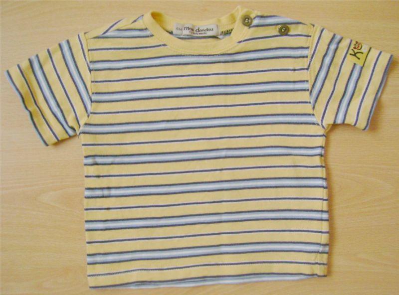 t-shirt à rayures bleues et jaunes Kiabi Baby.jpg